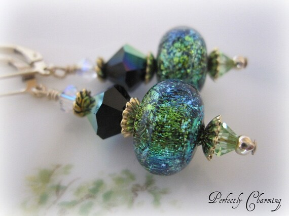SALE......Earrings MESMERIZE Vibrant Dichroic Lampwork and Swarovski Crystal 14K Gold Filled