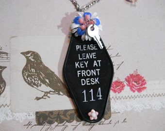 Novelty Necklace Handcrafted Using a Vintage Hotel Room Key Fob