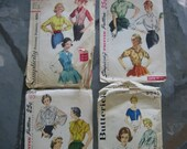 4 vintage 1940s-1960s sewing patterns - blouses