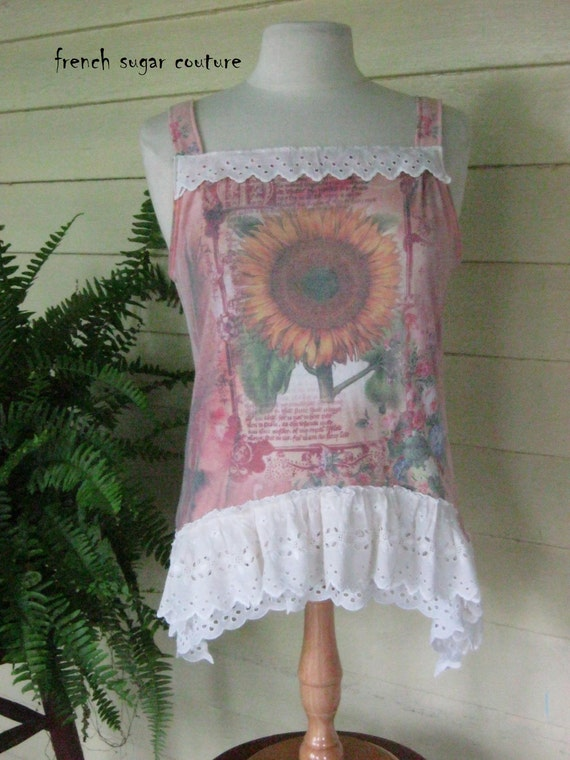 """ON SALE French Sugar Couture - Parisian Upcycled Tattered Chic Tank-Top - """"Sunflower"""" - Altered Couture"""