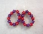 Red and Purple Star Hoop Earrings
