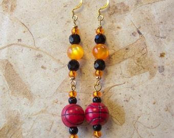 Oregon Beaver Basketball Earrings, Basketball Earrings, Orange Earrings, Black Earrings, Dangle Earrings, Oregon State Earrings