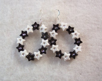 Black and White Star Hoops
