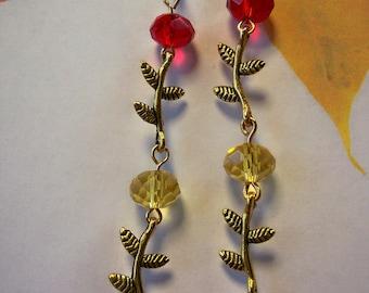 Golden Fall Leaf Earrings Yellow Orange Red