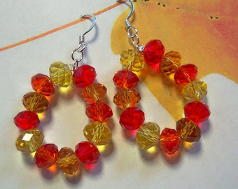 Autumn Crystal Hoop Earrings, Yellow Earrings, Orange Earrings, Red Earrings, Fall Color Earrings, Silver