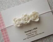 Felt Flower Headband - Little Rosebuds in White - Newborn Baby Headbands to Adult