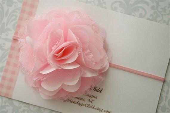 Pink Satin Tulle Headband - Baby Headband, Newborn Headband, Toddler Headband, Girls Headband