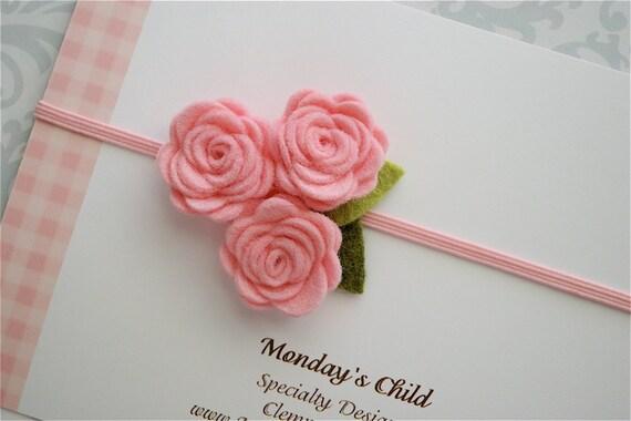 Felt Flower Baby Headband - Felt Flower Headband Pretty In Pink - Newborn Baby Headbands to Adult