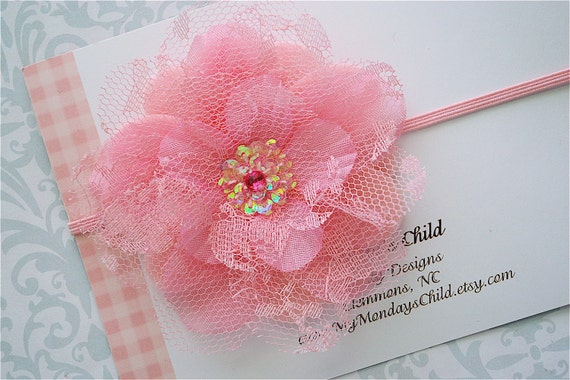 Pink Lace Flower Headband - Baby Headbands, Newborn Headbands, Baby Girl Headbands