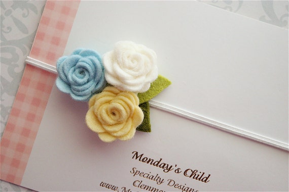 Felt Flower Headband in Blue and Yellow Roses - Baby Headbands, Baby Girl Headbands, Newborn Headbands