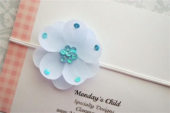 Blue Sequin Flower Headband - Newborn Headband, Baby Headband, Baby Girl Headband