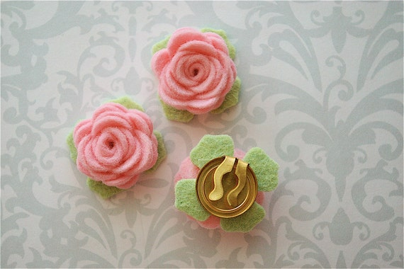 Fabric Covered Buttons - Fabric Buttons - Flower Buttons - Felt Flower Button Covers