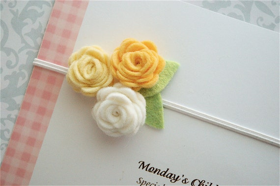 Felt Flower Headband in White and Yellow Roses - Felt Baby Headband, Newborn Headband, Toddler Headband, Girls Headband