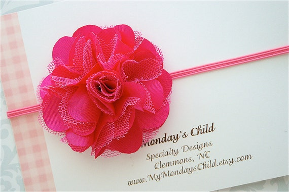 Satin and Tulle Flower Headband in Hot Pink - Baby Headbands, Newborn Headbands, Baby Girl Headbands