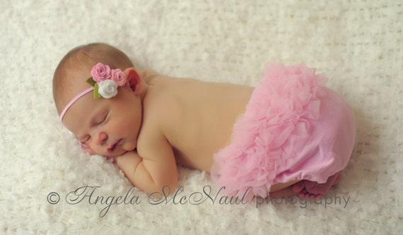 Pink and White Rose Headband - Felt Baby Headband - Felt Headband - Baby Headband, Newborn Headband, Toddler Headband