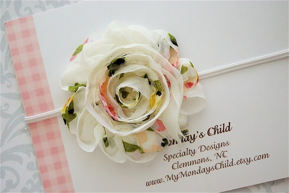 Shabby Chic Headband - Baby Headbands, Newborn Headbands, Baby Girl Headbands