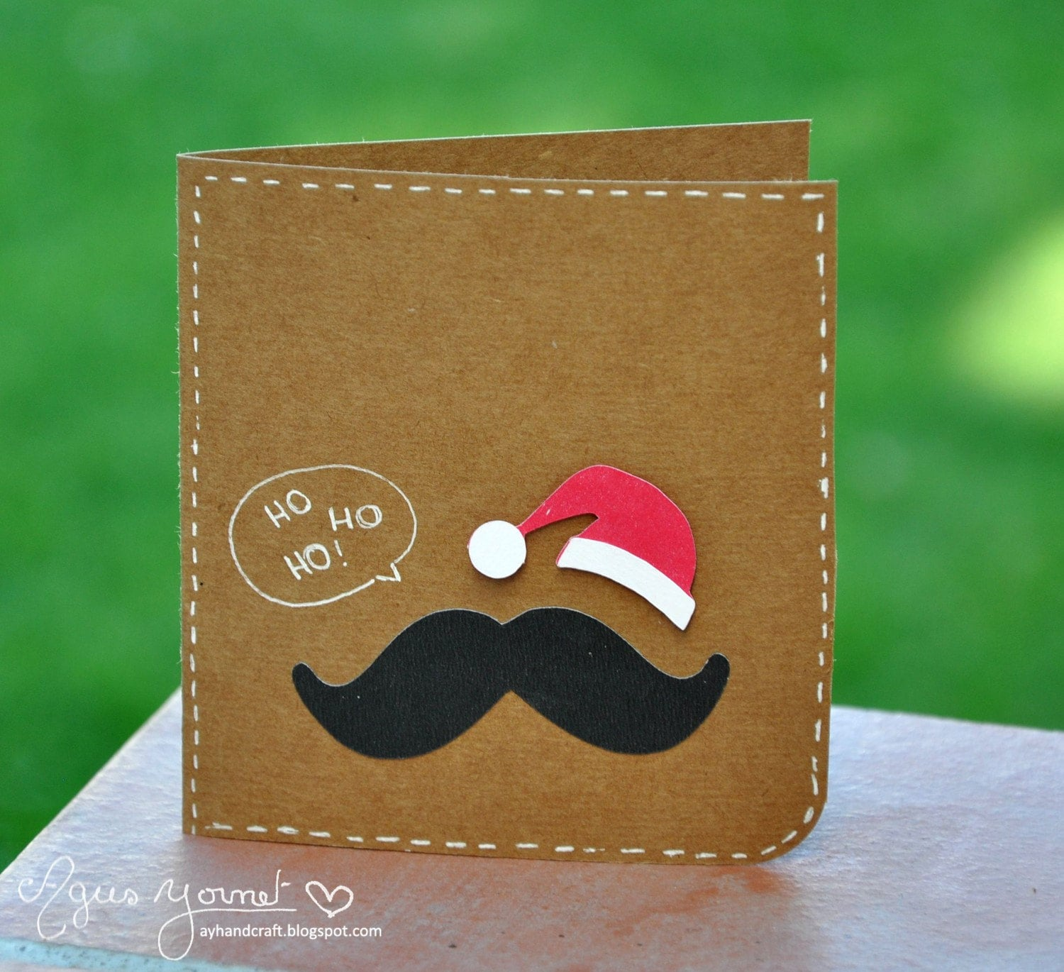 Santa moustache card christmas handmade greeting card for Handmade christmas cards