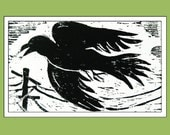 The Crow, Linoleum Block Print