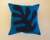 Reserved Listing for Trulydreaming...Two 15 x 15 Blue/Navy Matisse Leaf Pillows
