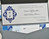 Gina Wedding Invitation Pocketfold - Ivory, Shades of Blue and Pewter Grey (customizable)