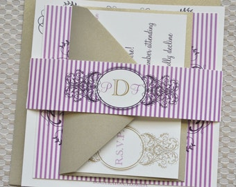 Evangalina Wedding Invitation Suite with Belly Band - Ivory, Amethyst, Eggplant and Gold