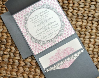 Hampton's Pocketfold Wedding Invitations - Pewter Silver, Ivory and Pink