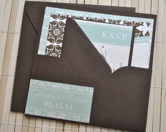 Liya Wedding Invitation Suite with Pocket - Ivory, Seafoam and Chocolate
