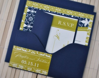 Liya Wedding Invitation Suite with Pocket - Navy, Ivory and Chartreuse