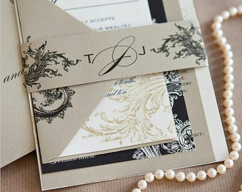 Limeade Deluxe Wedding Invitation Suite - Gold, Black, and Ivory