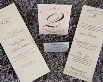 1943 Wedding Suite Program, Place/Escort Cards, Menu, Table Numbers - Ivory, Pale Pink, Silver, Charcoal Grey, Customizable