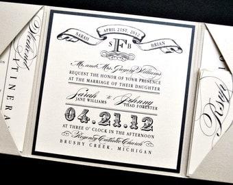 miranda wedding invitation suite with vintage luggage tag look trifold metallic beige black