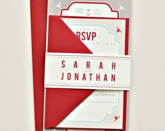 As Seen on Style Me Pretty Tori Vintage Tag Wedding Invitation Suite with Belly Band - Ivory, Red, Aqua, Taupe and Tan (customizable)