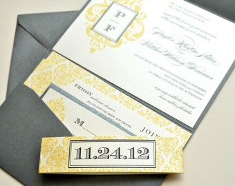 Damask Wedding Invitation Pocketfold - Ivory, Yellow and Pewter Grey (customizable)