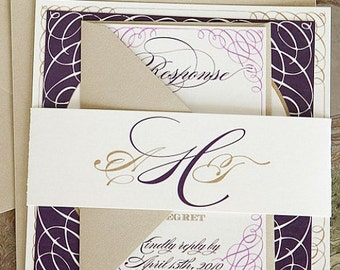 As Seen on The Knot - Portofino Wedding Invitation Suite with Belly Band - Eggplant Purple, Amethyst and Gold (customizable)