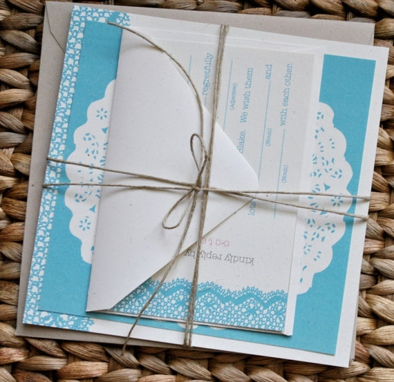 Lace Doily Wedding Invitation Suite With Twine Belly Band/Tie
