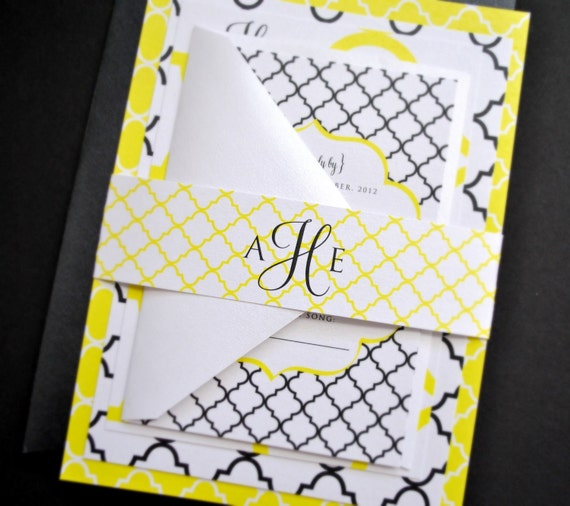 Heidi Moroccan Wedding Invitation Suite with Belly Band - Yellow, White, Black - Customizable