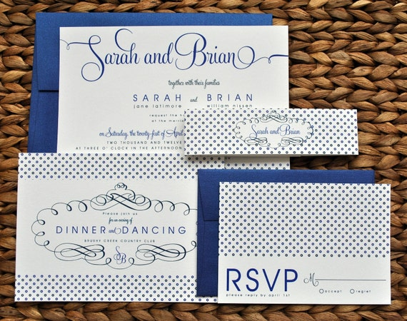 Cobalt Blue Wedding Invitations: Items Similar To Tricia Polka Dot Wedding Invitation Suite