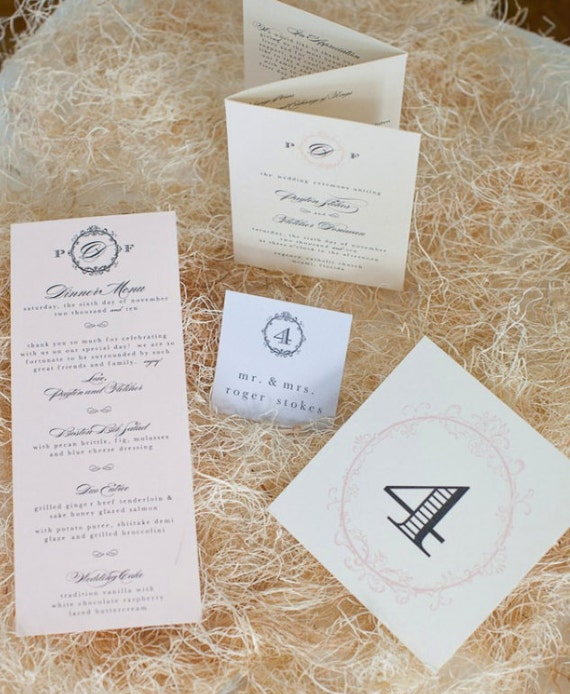 Vivienne Wedding Suite Program, Place/Escort Cards, Menu, Table Numbers - Ivory, Pale Pink, Charcoal Grey, Customizable