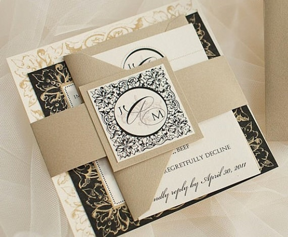 As Seen on Style Me Pretty - Paris Wedding Invitation Suite with Belly Band - Black, Gold and Ivory