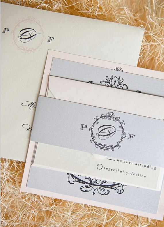 As Seen on Style Me Pretty - Vivienne Wedding Invitation Suite - Pale Pink, Light Silver, Charcoal and Ivory