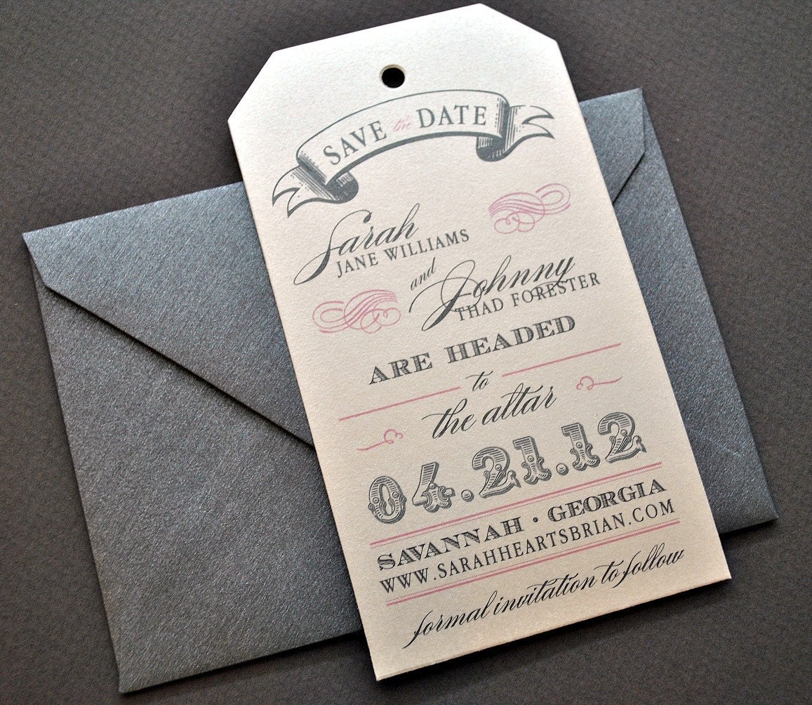 Miranda Vintage Luggage Tag Wedding Save The Date Metallic