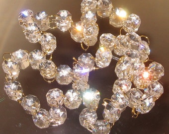 30% Lead Crystal Garland for Manzanita Trees - silver or gold connectors - 1 yard
