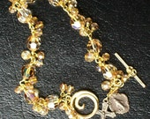 Swarovski Gold Rosary Bracelet with bangles, wire-wrapped, Catholic, Unbreakable