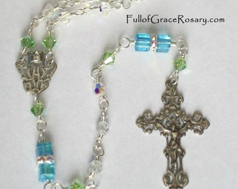 Sterling Silver Blue & Green Rosary, 1st Communion Gift, Girls, Swarovski Crystal, Baptismal, Catholic, Unbreakable, Wire Wrapped