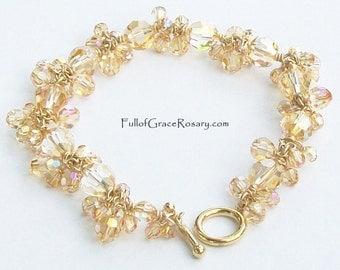 Gold Bracelet Swarovski Crystal 14K Gold filled wire Unique