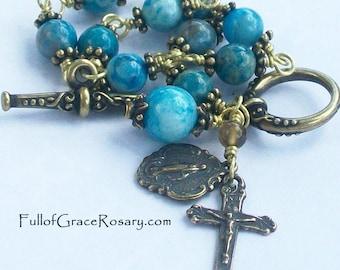 Aqua Blue Rosary Bracelet Crazy Lace Agate Brass Bronze Unbreakable
