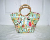 Reserved for CharmianD----Vintage Mod Neiman Marcus Green Fabric Round Bamboo Handles Shopping Tote Handbag