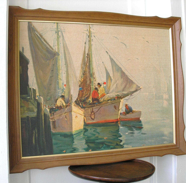 1950s Turner Wall Accessory Print Of Sailboats At Dock