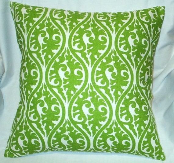 16x16 Bright Green Mod Damask Print Pillow Cover - FREE SHIPPING