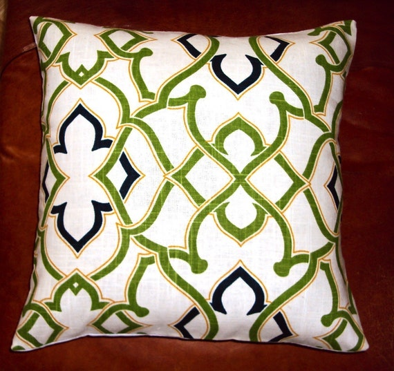 Waverly Green Cream and Navy Blue Fretwork Fabric Pillow Cover